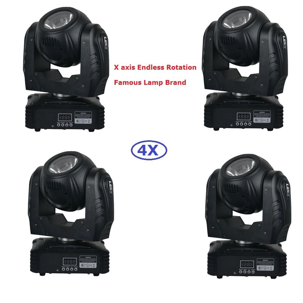 Alta calidad 4 Unids / lote 60 W RGBW 4IN1 Luz de cabeza móvil LED DMX512 Equipo de DJ Mini luces de haz de cabeza móvil Led Envío rápido