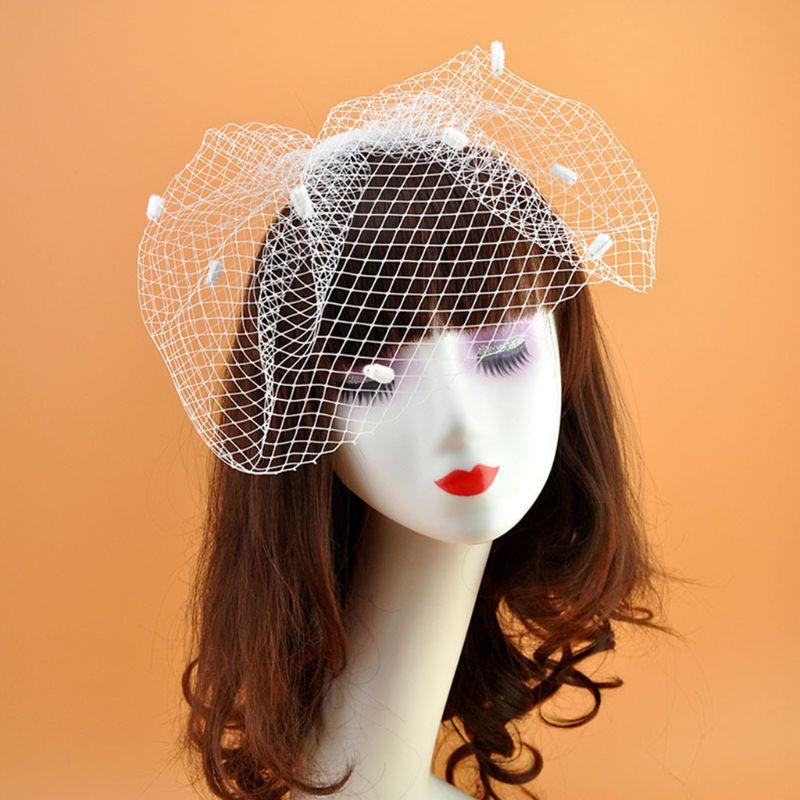 Womens Vinrage Wedding Fascinator Fishnet Mesh Veil Large Hole Small Plush Wave Point Hair Clip Corsage Brooch W77