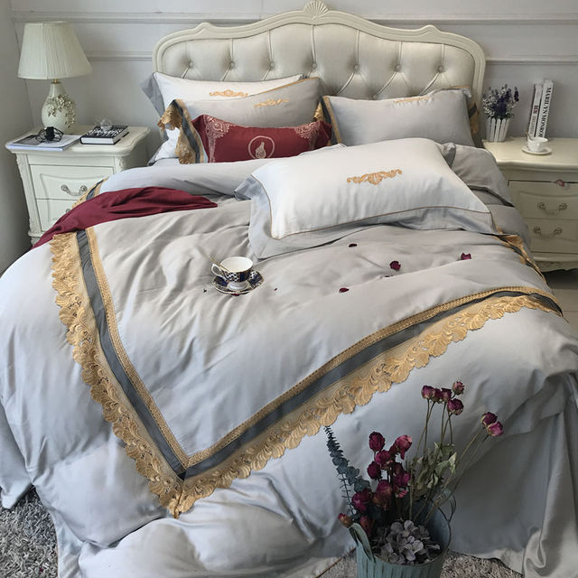 2 Blue Designs Tencel Bedding Set Elegant Style Embroidery Duvet Cover  Satin Bed Linen Bed Sheet