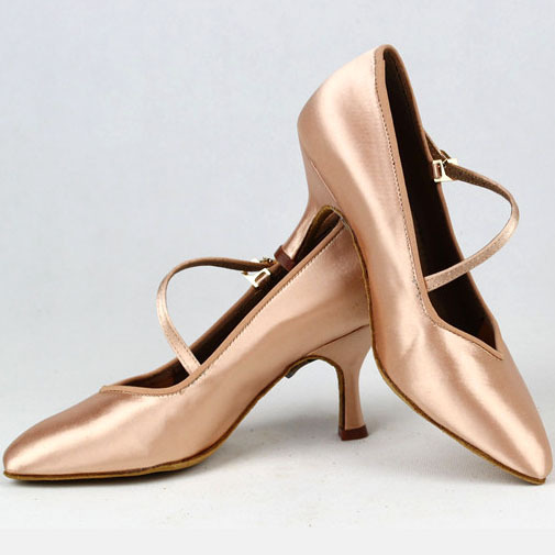 Women Standard Dance Shoes BD 138 ClASSIC Fresh Tan Satin High Low Heel Ladies Ballroom Dance Shoes Soft Outsole Modern Dance 4