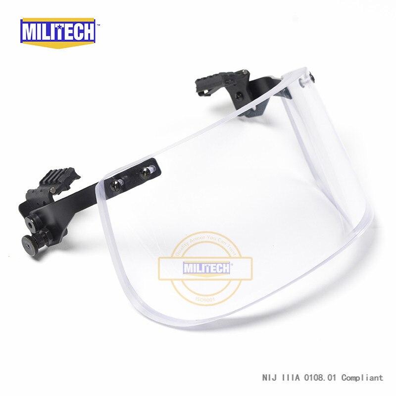 Image 2 - MILITECH NIJ 0108.01 IIIA 3A Bulletproof Visor for ACH FAST Tactical Helmet Bulletproof Visor Bullet Proof Mask For Helmetshelmet sleevehelmet partvisor hats -