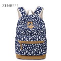 ZENBEFE Feathers Printing Backpack Canvas Bag Fashion Backpack School Bags For Teenagers Durable Laptop Backpack Travel Bag