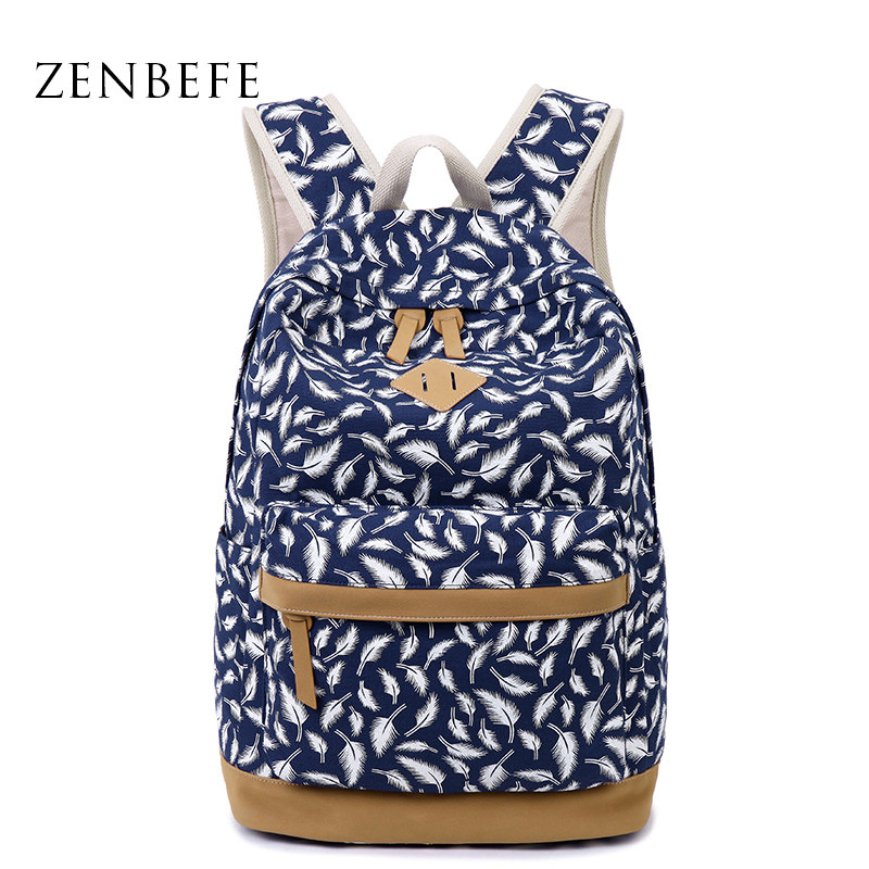 ZENBEFE Feathers Printing Backpack Canvas Bag Fashion Backpack School Bags For Teenagers Quality Laptop Backpack Travel Bag