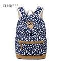 ZENBEFE Penas Impressão Saco de Lona Mochila Moda Mochila Escola Bags Para Adolescentes Durável Mochila Laptop Saco de Viagem