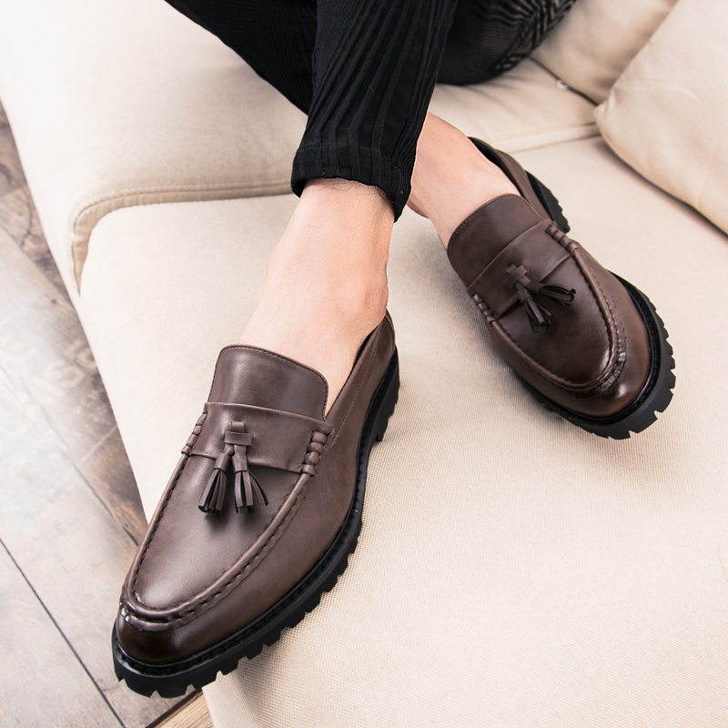 Mens Formal Shoes Casual Leather Slip On Driving Loafers Tassel Pointed Flats