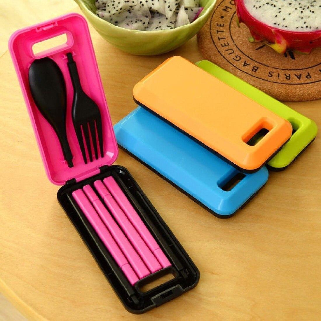 1 Set Portable Travel Kids Adult Cutlery Travel Fork Tableware Dinnerware Sets Camping Picnic Set Gift For Child Kids