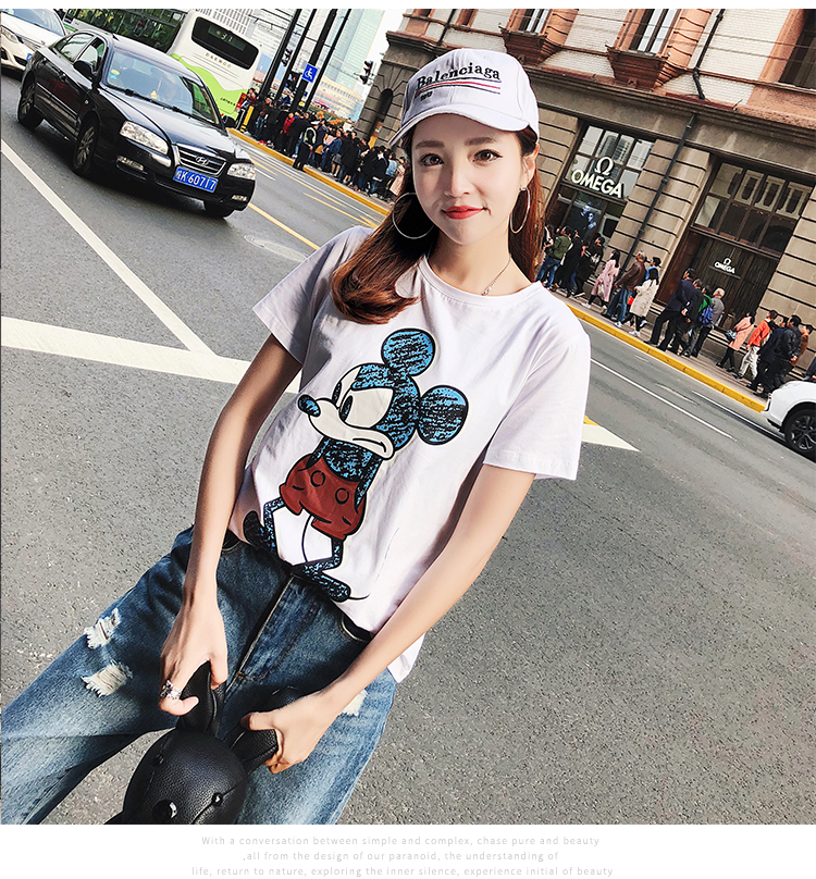 2019 Summer New Women's T-shirt Fashion Casual Mickey Mouse Printing Round Neck Short Sleeve Loose Female Tshirts 13
