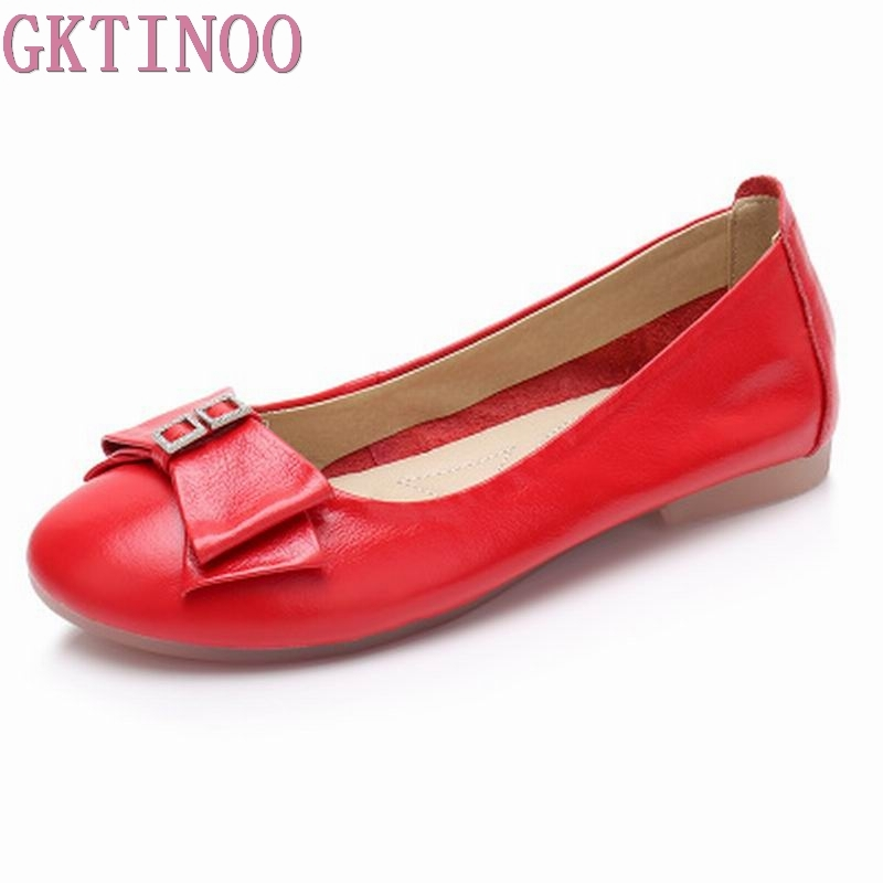 GKTINOO Women Flat Shoes 2018 New Genuine Leather Casual Shoes for Woman Soft Ballet Pregnant women Flats Loafers Single Shoes leather shoes handmade shoes spring and summer new style soft genuine leather flats shoes shoes for pregnant women flats