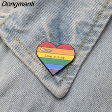 DMLSKY Love is love Rainbow Metal Pin Clothes bags Brooch Homosexual Pins Badge Equal Creative Lovers Gift M2486