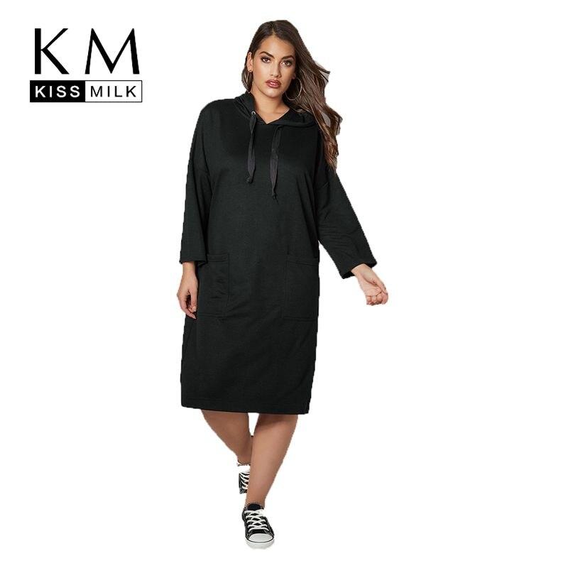 Kissmilk плюс размеры Спорт и отдых с капюшоном Длинные Простые модные элегантность красота абсолютный черный элегантный дизайн повседнев