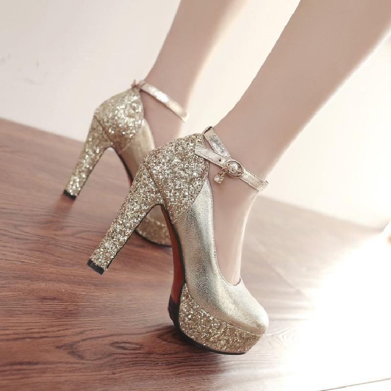 Women Super High Heels Platform Shoes Woman Gold Bride Shoes Ladies Sexy Sequins Wedding Shoes Banquet Dress Princess Shoes 43