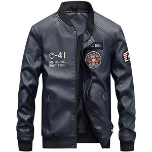 Image 2 - Men Baseball Jacket Embroidered Casual PU Leather Coats Winter Mens Slim Fit Warm Fleece Pilot Military Jackets Stand Collar