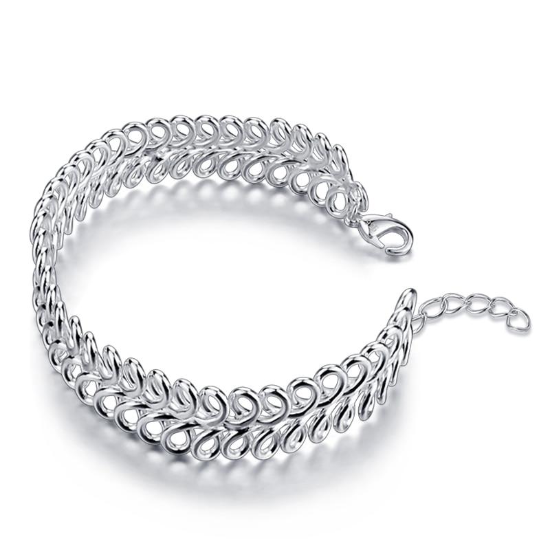 Women 925 sterling silver bracelets, silver personalities mesh bracelet, solid silver bracelet, exaggerated girl jewelry