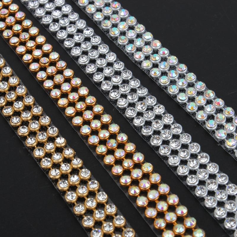 3 Rows SS8 Diamond Hotfix Rhinestone Mesh Banding Chain With Silver Aluminum Base Crystal  Trim Mesh 1.2m For Garment