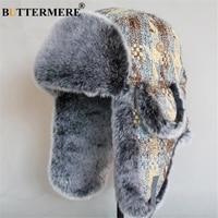 BUTTERMERE Fur Winter Hat Male Female Soviet Ushanka Bomber Hat Russian Men Women Warm Outdoor Ski Earflap Unisex Trapper Hats