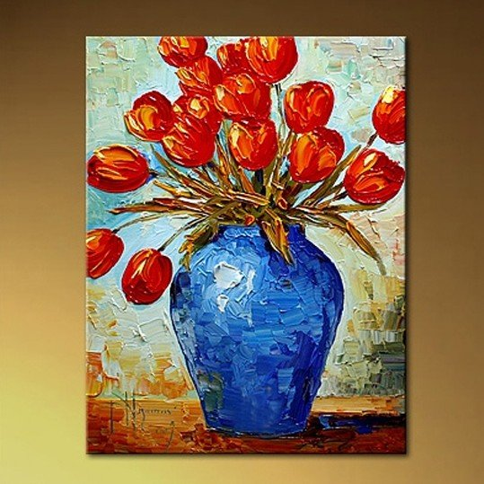 Oil painting canvas abstract red flower thick texture high for Texture painting on canvas
