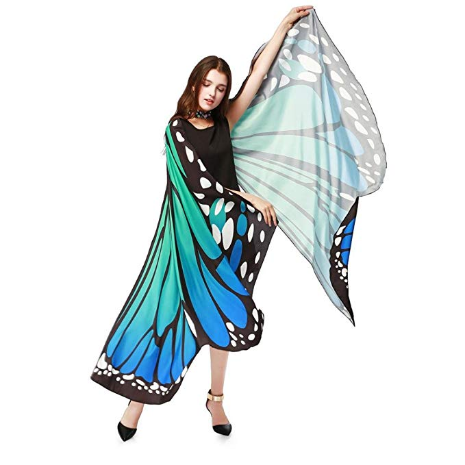 Halloween Hot sale Egypt Belly Wings No Sticks 2018 blue Butterfly Egypt Dance Costume Accessory Performance Prop Colorful