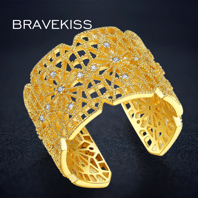 BRAVEKISS Open Hollow Ring Gold Wide Adjustable Finger Rings Bague Femme Luxury