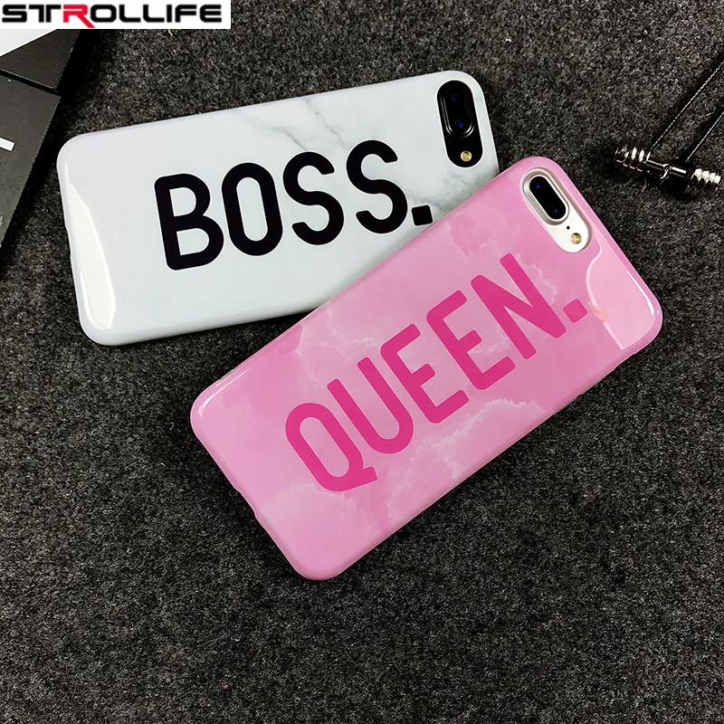 sports shoes 12947 64254 US $3.5 10% OFF|STROLLIFE Cartoon Letters Queen & Boss Phone Cases For  iphone 8 case Glossy White Marble Soft Silicon Cover For iphone 8 Coque-in  ...