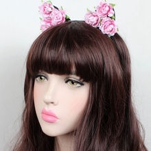 New  rose flower head buckle fashion birthday party headdress Female children hair band Christmas gift cat ears headban