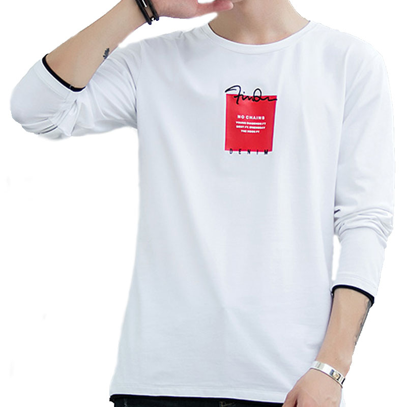 Printing Men T Shirt Long Sleeve Fashion Spliced Men 39 s T Shirts Crewneck Comfortable Black Orange White Autumn Men 39 s T Shirts in T Shirts from Men 39 s Clothing