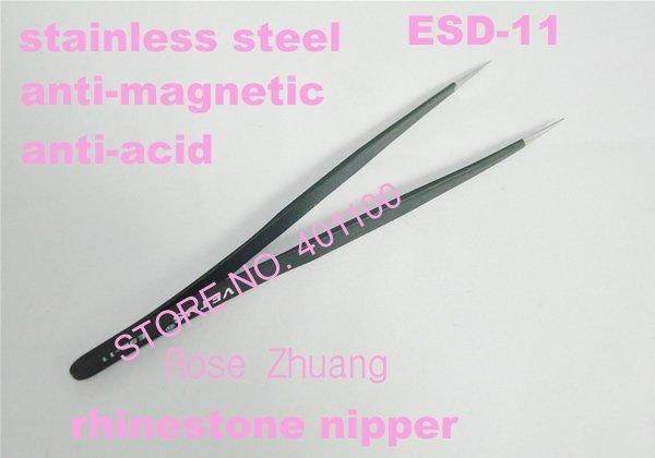 Freeshipping-Anti-Magnetic Fine Tweezer for Eyelash Extensiozers Stainless Steel Nail Rhinestone Nippers Wholesales SKU:F0078X