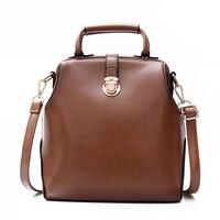 Vintage Women Leather Backpack Simple Style Shoulder Bag Hasp Lock Backpack Square Doctor Bag Teenag Girl