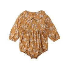 Одежда для маленьких и новорожденных Лидер продаж для девочек Винтаж Стиль с цветочным узором с длинными рукавами комбинезон комбинезоны наряды