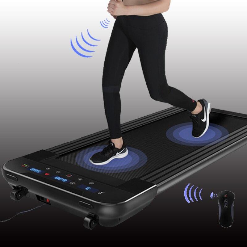 Noir télécommande électrique tapis de course Mini électrique course à pied entraînement Fitness tapis de course sport à domicile muet équipement de Fitness