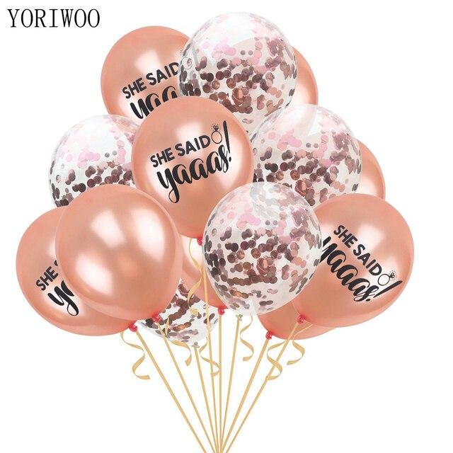 YORIWOO 15pcs She Said Yaaas I Do Rose Gold Balloon Team Bride Wedding Bridal Shower Favors Hen Bachelorette Party Decorations