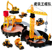 Canteiro de obras de Engenharia De veículos Diecast liga Carro Clássico Brinquedo Estacionamento órbita Dunk Faixa espiral rolo crianças brinquedo para crianças