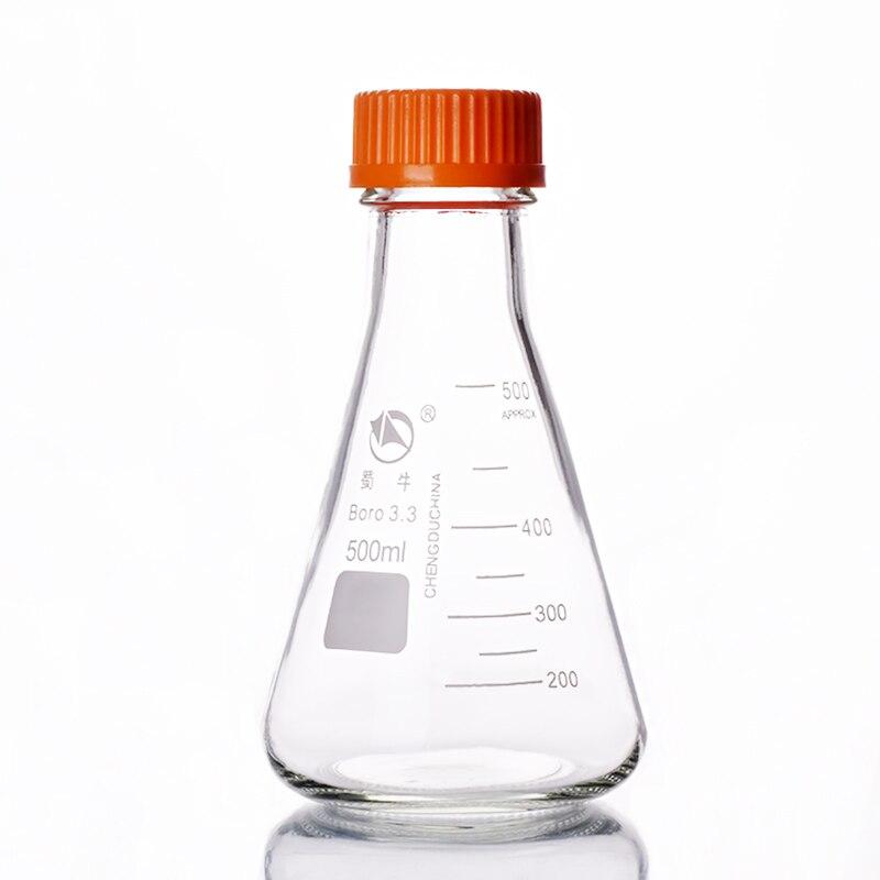 Botella de reactivo triangular de Boca de Río con rosca amarilla, vidrio de borosilicato 3,3, capacidad 500 ml, Tapa amarilla