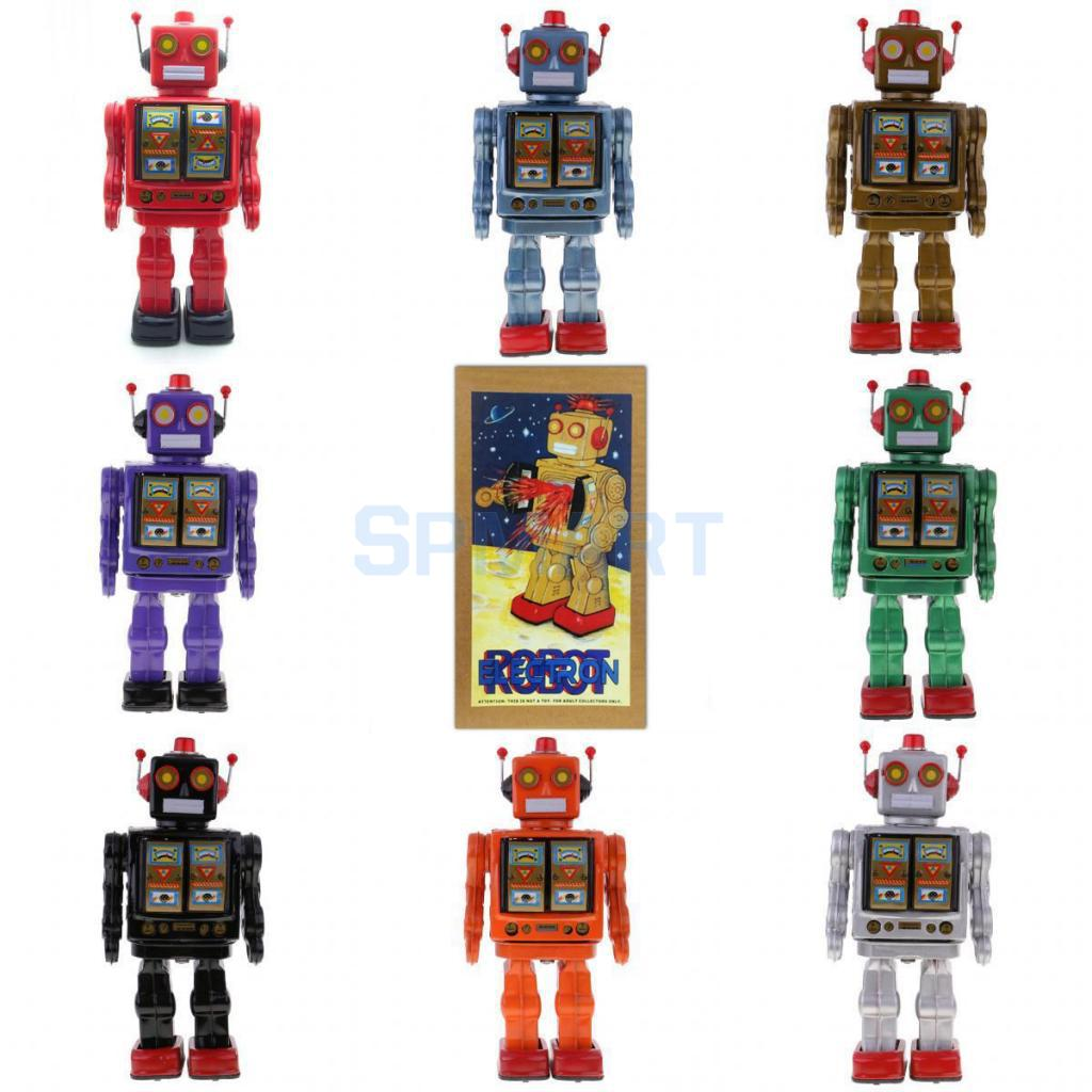 Retro Vintage Baterías Operado Caminar Mecánica Electrónica Robot Tin Toy Coleccionables Niños Niños Adultos Juguetes Regalos