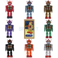 Retro Vintage Batteries Operated Mechanical Walking Electron Robot Tin Toy Collectibles Kids Children Adults Toys Gifts