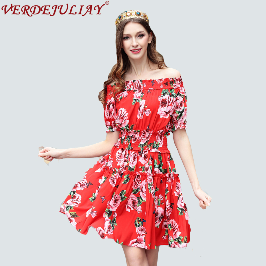7bc66b6c7f5 Taille Femmes Courtes Mini Cou Imprimer Rouge Sexy Mince Mode Robe À Robes  High Manches Offre ...