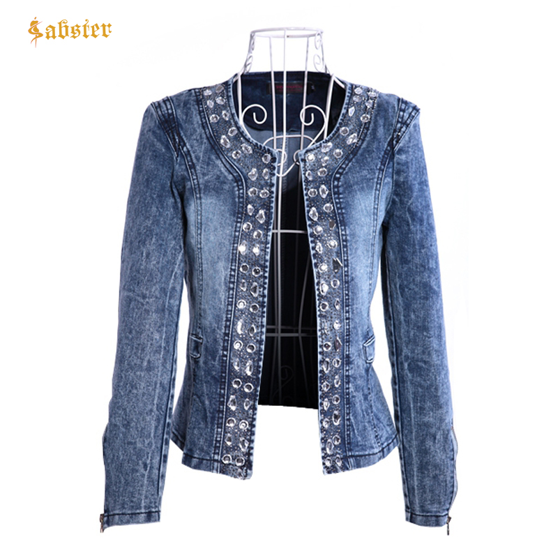 2018 New Arrival spring Antumn denim jackets vintage Diamonds casual coat women's denim jacket for outerwear jeans Female 4(China)