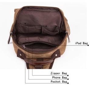 Image 4 - Scione Small Canvas Backpack Men Travel Back Pack Multifunctional Shoulder Bag Women Laptop Rucksack School Bags Female Daypack