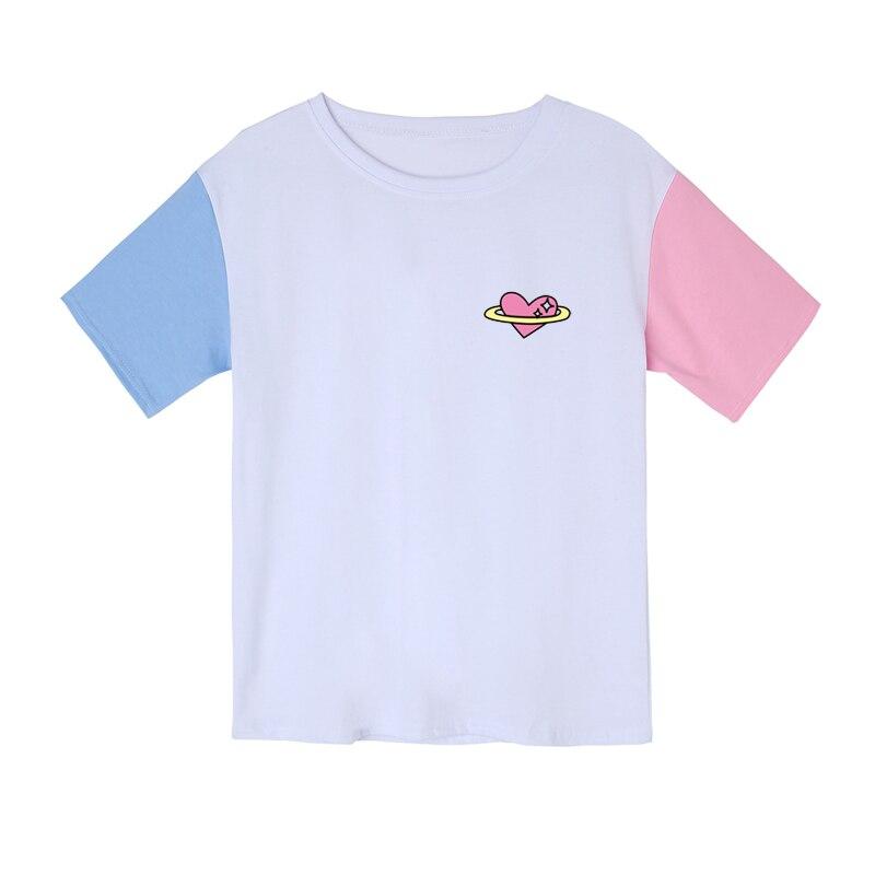 100% Vero Nuovo Kpop Harajuku Cuore Amore Stampato Donne T-shirt Casual Estate Manica Corta T Shirt A Manica Corta Pastello Cotone Dolce Magliette E Camicette