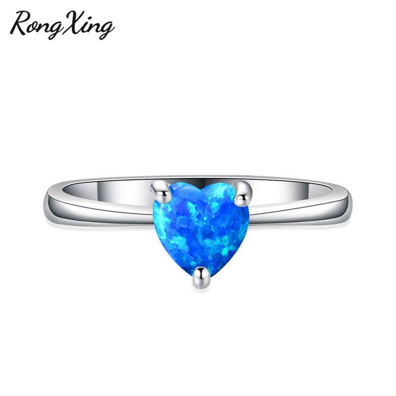 RongXing 925 пробы заполненный серебром браслет с сердцем из опала камень кольца для женщин Винтажная Мода фиолетовый/красный/синий/кольцо с зеленым Цирконом подарок - Цвет основного камня: Blue Opal