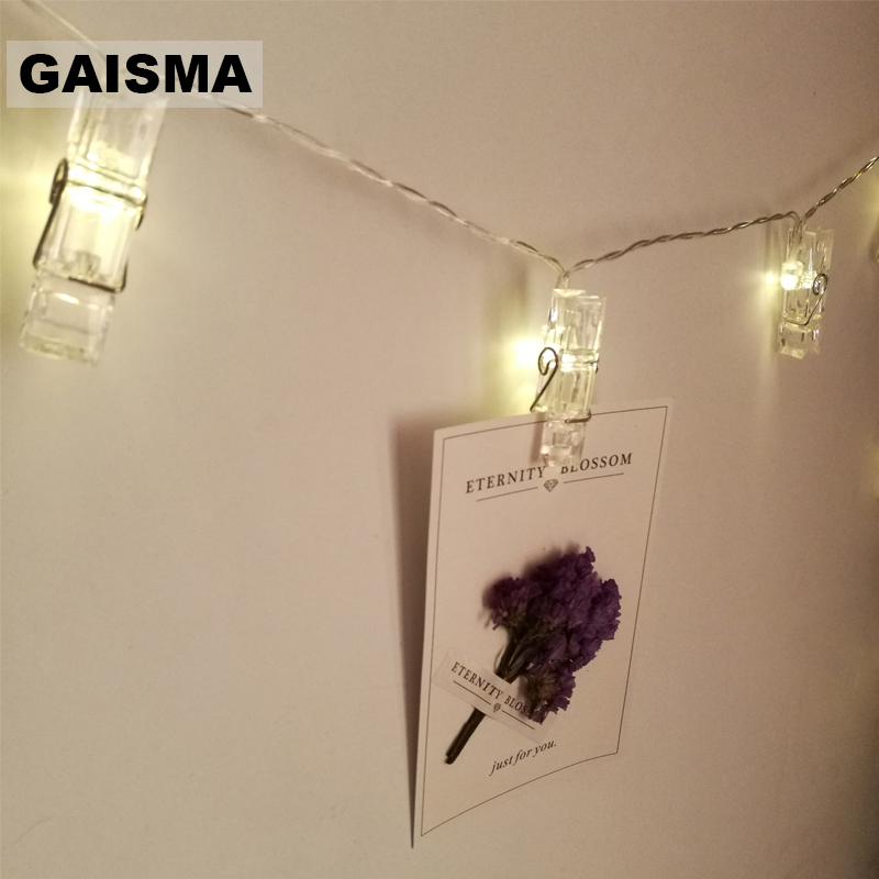 5M Christmas Garland LED Photo Card Clip String Lights Bedroom Fairy Lights Decoration For Holiday Party Wedding Lighting Chain