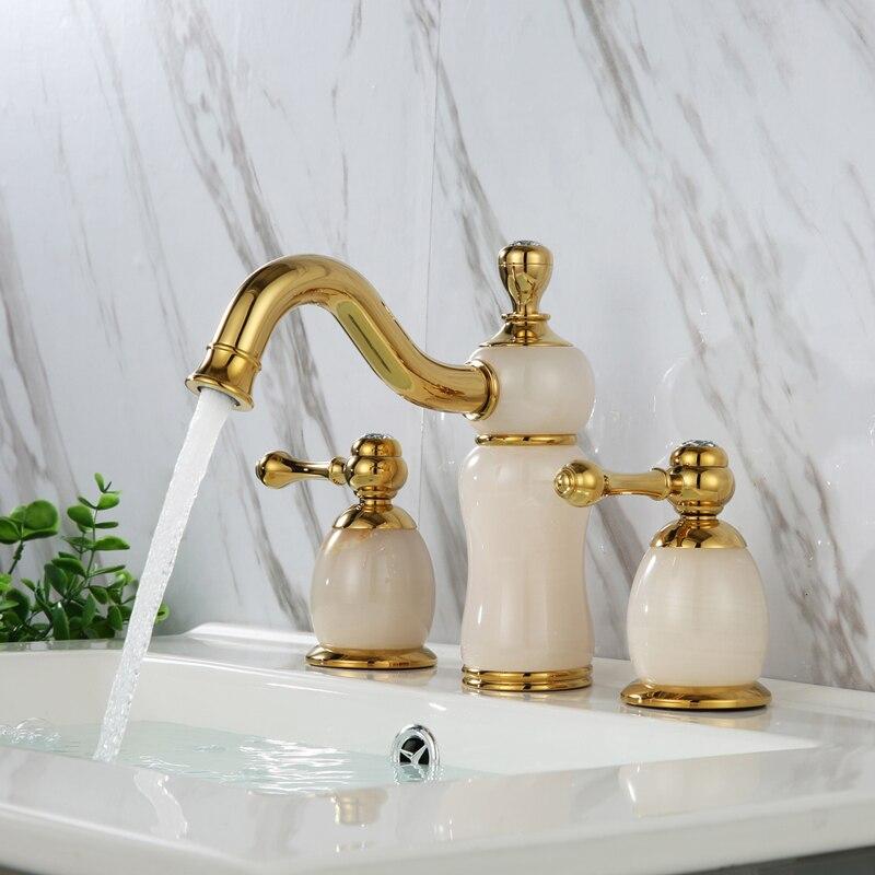 Robinet de lavabo de salle de bains en jade naturel en laiton doré de luxe robinet de lavabo Art trois trous robinet de lavabo de haute qualité-SM5381