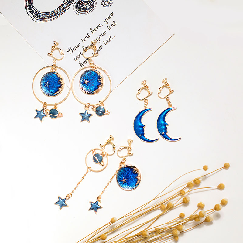 Grace Jun Top Quality Enamel Moon Planet Stars Shape Clip on Earrings Without Piercing for Women Party Luxury No Hole Earrings