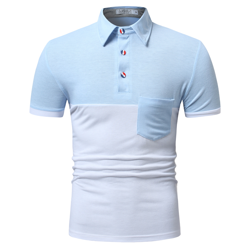 POLO   shirt men's two-color stitching fashion short sleeve long door tube decorative casual cotton comfortable breathable   POLO