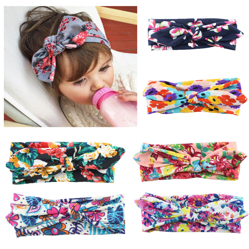 New Children Cotton Printing Cross Hair Band Baby Girl Headband Bohemian Rabbit Ears Headband Hair Accessories 13pcs children printing hair rings
