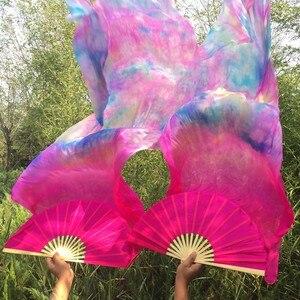 Image 5 - Venta al por mayor de Velos de seda natural pura teñida 100% para danza del vientre abanico sexy de 180cm de largo seda para espectáculo de bailarina en el escenario un par