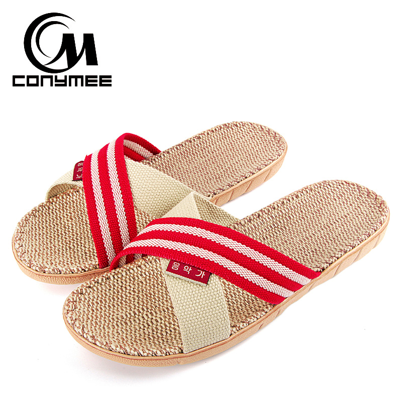 1fa6ca644f3 CONYMEE Summer Sandals Flax Flip Flops 2018 Men Women Fashion Shoes Indoor  Home Slippers Sandalias Linen Zapatos Mujer Slipper
