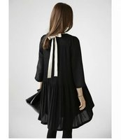 PLUS SIZE 2016 Autumn New Bow Black Women Chiffon Dress O Neck Draped Casual A Line