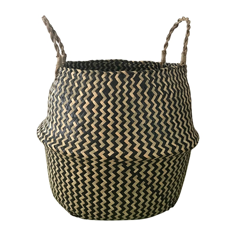 Promotion! Portable Foldable Natural Seagrass Woven Storage Basket with Handle for Home Decorations Plant Pot Clothes Toys Pic(China)