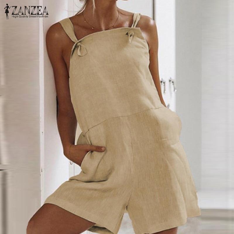 ZANZEA Plus Size Women Jumpsuit Shorts Playsuit Cotton Linen Strappy Combinaison Femme Elegant Ladies Casual Overalls Rompers