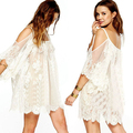 New Arrival Women's Sexy Vintage Hippie Boho Embroidered Floral Lace Crochet Mini Dress
